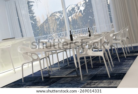 Angled View of Modern White Dining Room Set for Meal with Wine with View of Snowy Mountains Through Window. 3d Rendering. - stock photo