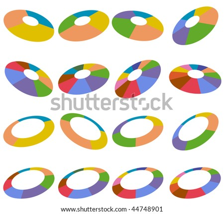 Angled wheel charts isolated on a white background. - stock photo