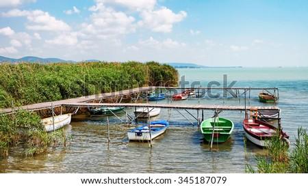 Angler boats at Lake Balaton,Hungary - stock photo
