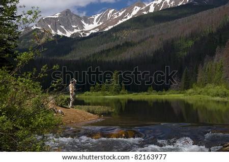 Anglers at Lower Boulder Lake, Colorado - stock photo