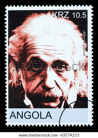 ANGOLA - CIRCA 2005: A postage stamp printed in Angola showing Albert Einstein, circa 2005 - stock photo