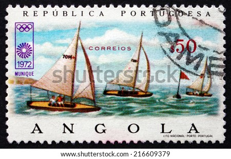 ANGOLA - CIRCA 1972: a stamp printed in Angola shows Sailing, 20th Olympic Games, Munich, circa 1972 - stock photo