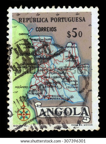 Angola - CIRCA 1955: a stamp printed in Portugal shows map of Angola, series, circa 1955 - stock photo