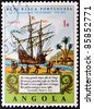 ANGOLA - CIRCA 1972: A stamp printed in Portuguese Republic commemorating the fourth centenary of the lusiadas. circa 1972 - stock photo