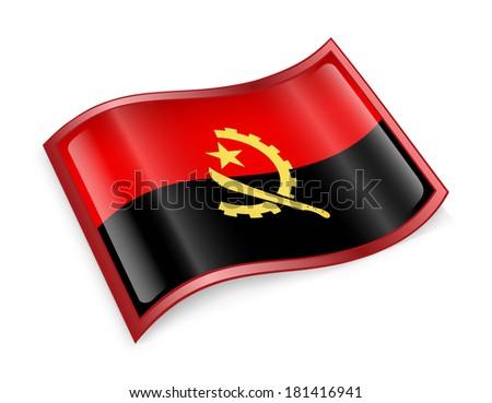 Angola Flag icon, isolated on white background. - stock photo