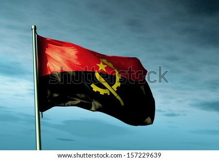 Angola flag waving in the evening - stock photo
