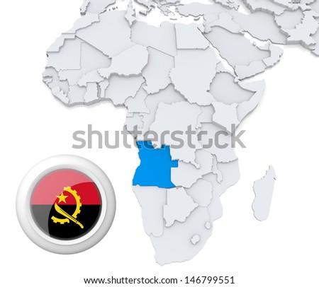 Angola with national flag - stock photo