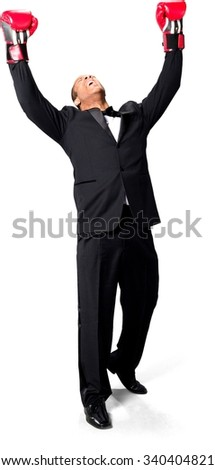 Angry African man with short black hair in evening outfit with arms open - Isolated