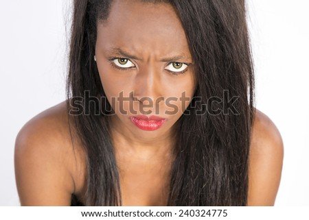angry african woman - stock photo