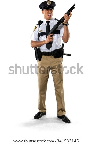 Angry African young man with short black hair in uniform holding shotgun - Isolated