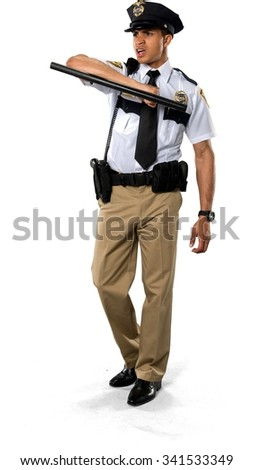 Angry African young man with short black hair in uniform using prop - Isolated - stock photo