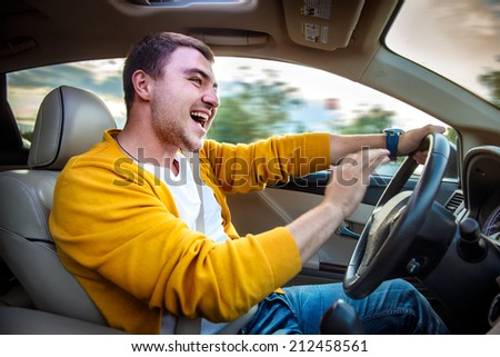 Angry aggressive driver beep and shouts in the car. Road rage concept. - stock photo