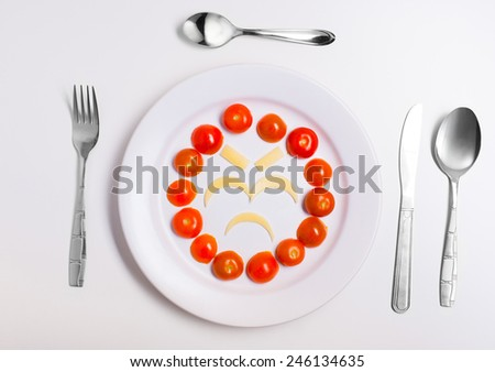 angry and disappointed emoticon food, made from cheese and tomatoes, on a plate with cutlery, isolated