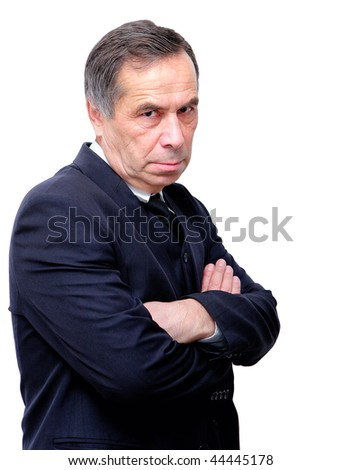 angry and dissatisfied old man - stock photo