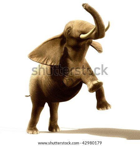 Angry and jumping elephant illustration - stock photo