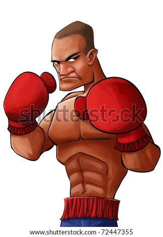 angry and strong pugilist looking to punch his opponent - stock photo