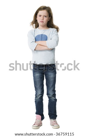 Angry, argumentative young girl, arms folded on white background