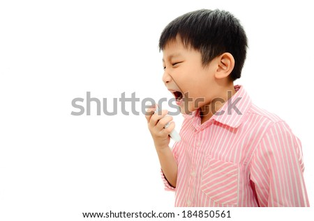 Angry Asian child shouting At Mobile Phone, isolated on white. - stock photo