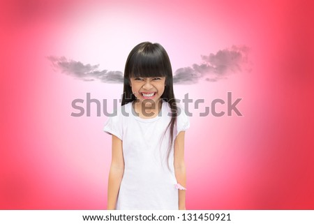 Angry asian little girl - stock photo