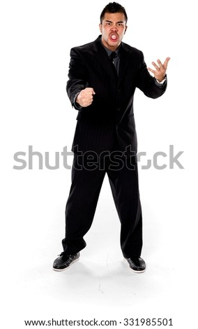 Angry Asian man with short black hair in business formal outfit talking with hands - Isolated - stock photo