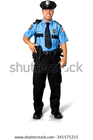 Angry Asian man with short black hair in uniform holding handgun - Isolated
