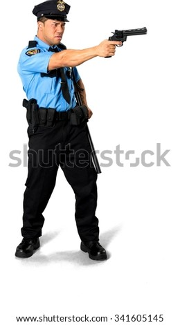 Angry Asian man with short black hair in uniform using handgun - Isolated