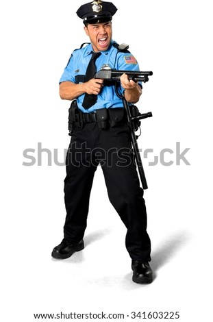 Angry Asian man with short black hair in uniform using shotgun - Isolated - stock photo