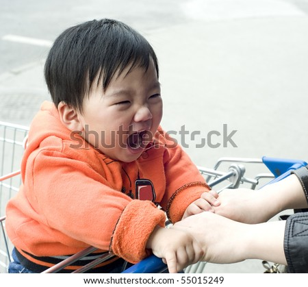 angry baby - stock photo