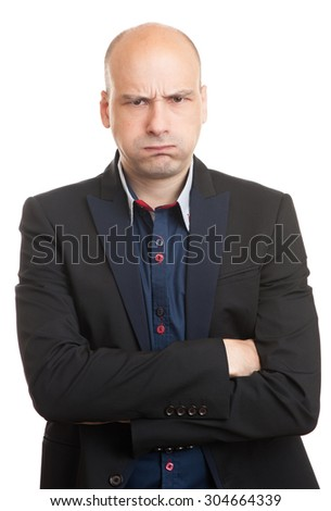 angry bald businessman isolated on a white background