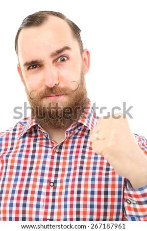 angry bavarian man  - stock photo