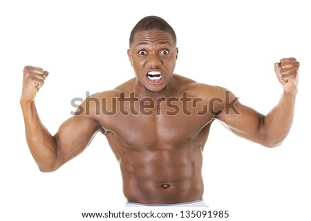 Angry black muscular man, isolated on white - stock photo