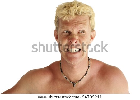 Angry Blond White Male Nude - stock photo