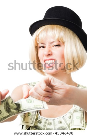 Angry blond woman tear dollar apart wearing dress made of dollars