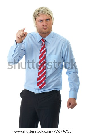 angry blonde businessman in blue shirt point to camera, isolated on white background - stock photo
