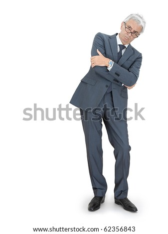 Angry boss crossing arms. - stock photo