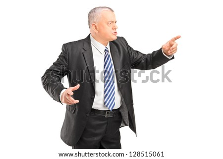 Angry boss having arguing and pointing with finger isolated on white background - stock photo