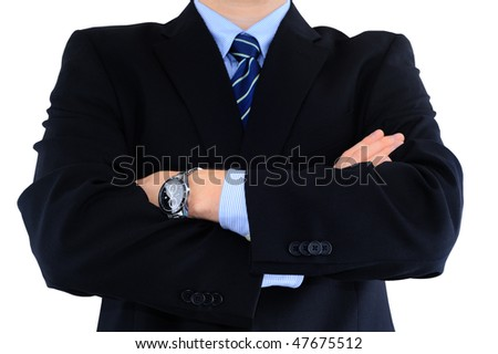Angry boss isolated on white - stock photo