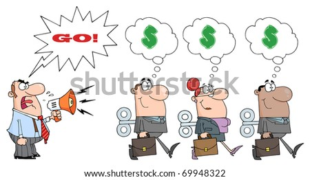 Angry Boss Man Screaming Into Megaphone In Three Businessmen With A Word Balloon And Text - stock photo