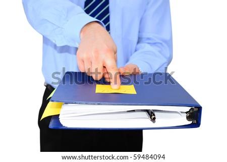 Angry boss returning folder to fix paperwork - stock photo