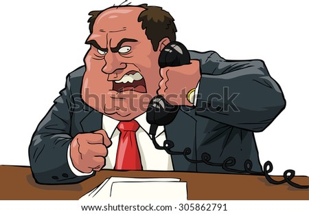 Angry boss shouting into the phone raster version - stock photo