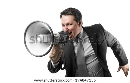 Angry boss shouting with a megaphone. Isolated on white - stock photo