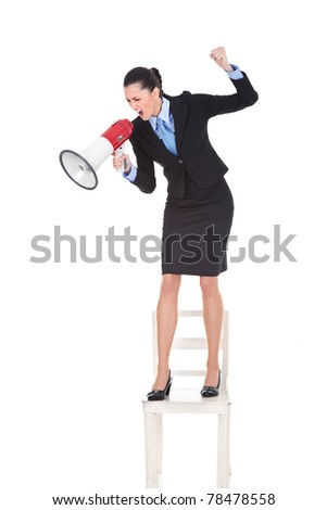 angry boss with megaphone yelling and standing on chair, shoving protest, isolated on white background - stock photo