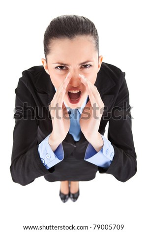 angry boss yelling,  isolated on white background, top view - stock photo