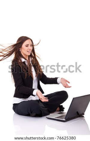 angry boss yelling over internet, isolated on white - stock photo