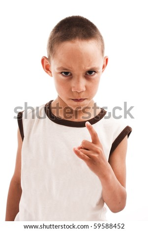 angry boy isolated on white - stock photo