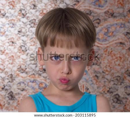 angry boy portrait - stock photo
