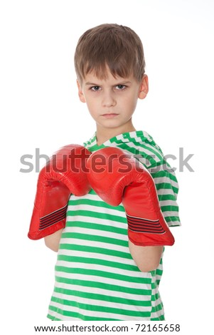 Angry boy pugilist isolated on a white background - stock photo