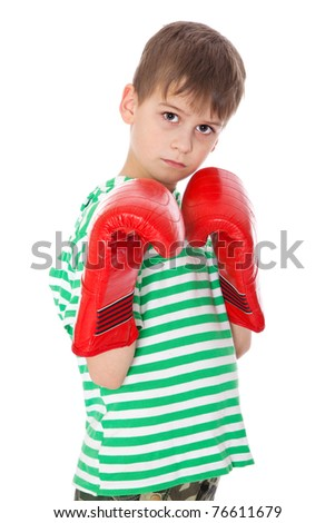 Angry boy pugilist isolated on a white background