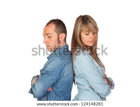 Angry boyfriends fought isolated on white background - stock photo