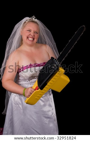 Angry Bride (Bridezilla) using a chainsaw to attack the people bothering her